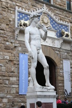 A copy of David - the original stands in the Galleria Dell Accademia