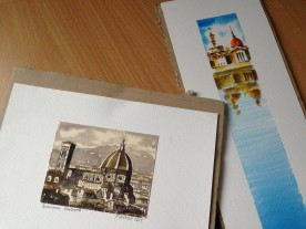 The two watercolours I bought from street artists in Piazza Santa Croce