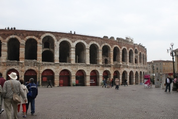 Verona Arena - it was originally built higher, but the stone of the top tiers had been repurposed for other buildings centuries ago.
