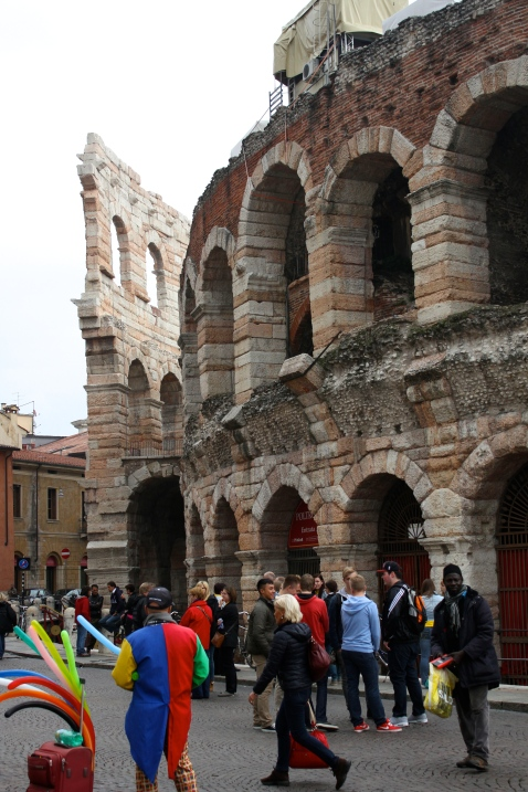 The Verona Arena had been built out of pink limestone which you can still faintly see the colour of in parts