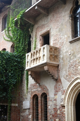 Juliet's balcony. I can just imagine Romeo scaling that vine covered wall to the left.