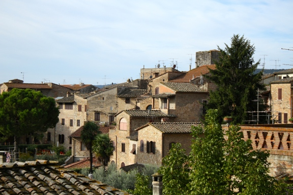 Looking across the town