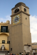 The clock tower in the centre of Capri