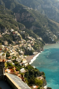 Looking down onto Positano. If you look carefully you can see beach chairs lined up across the sand, which is grey from volcanic rock.