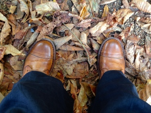 My new boots in the autumn leaves