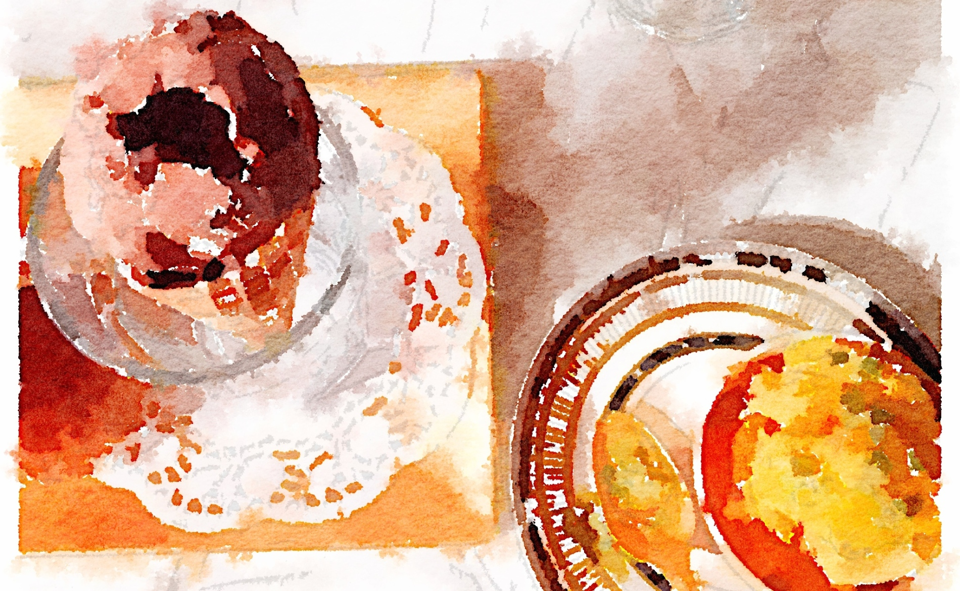 Semifreddo and sorbetto in watercolour