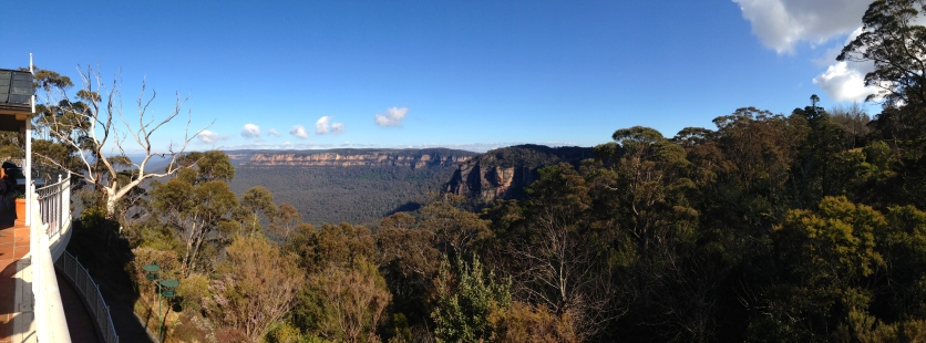 Looking across the Blue Mountains National Park from the Three Sisters Cafe.