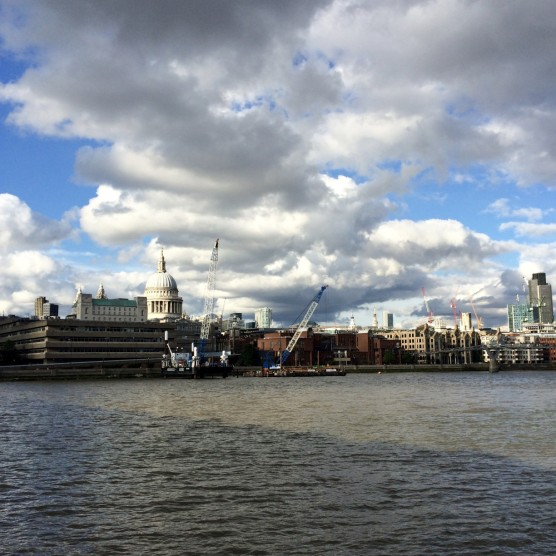 The walk back across the Thames with St Paul's Cathedral in the distance.
